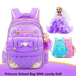 e018826fa7f9 Bow Princess School Bags For Girls With Doll Waterproof Children School  Backpack Kids Primary Students Book bags Mochila Escolar