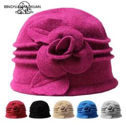 Fallen Hats Australia - BINGYUANHAOXUAN Felted Women 100% Pure Wool Dome Winter Hats For Women Floral Casual Brand Warm Lady Fall Floppy Soft Felt Girls