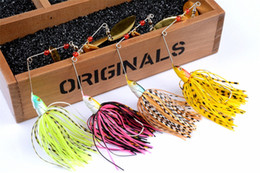 Soft Bait Pike NZ - 4pcs 20.5g Spinnerbait Black Large Mouth Bass Fish Metal Bait Sequin Beard Pike Fishing Tackle Rubber Jig Soft Fishing Lure