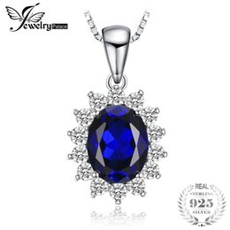 blue sapphire pendants 2019 - JewelryPalace Oval 3.2ct Princess Diana William Created Blue Sapphire Pendant 925 Sterling Silver Fine Jewelry Not Inclu