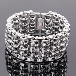 $enCountryForm.capitalKeyWord NZ - 35mm Huge Heavy Solid Silver Men's Skeleton Skull bracelet Ghost bangle Biker Punk Stainless Steel Jewelry