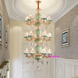 hotel chinese painting NZ - European Luxury Crystal Chandelier LivingRoom Bedroom Chinese Ceramic Chandelier Pendant Light Hotel Hall Stair Painted Ceramic Hanging Lamp