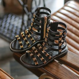 $enCountryForm.capitalKeyWord NZ - Hot sell summer fashion Roman girls sandals High-top kids sandals toddler baby sandals high quality Open toe Rivet shoes