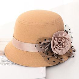 $enCountryForm.capitalKeyWord Canada - HT1217 Autumn Winter Caps For Women Ladies Elegant Bowler Bucket Cloche Retro Wide Solid Flower Wool Felt Hats Female Wholesale