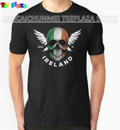 $enCountryForm.capitalKeyWord NZ - Teeplaza Funny T Shirts For Sale Irish Flag Skull Crew Neck Men Short Sleeve Compression T Shirts