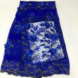 Net fabric for dresses online shopping - 5 Yards pc Hot sale roya blue french net lace with appliqued beads african mesh lace fabric for dress BN86