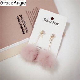 Jade Dresses Australia - GraceAngie 1pair Pink White Beige Optional Fluffy Pom Pom Dangle Earrings Sweet Girl's Wearing Dress Party Jewelry Accessories