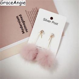 Jade Dresses Australia - GraceAngie 1pair Pink White Beige Optional Fluffy Pom Pom Dangle Earrings Sweet Girl's Wearing Dress Party Jewelry Accessories