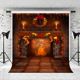 Printed brick PhotograPhy backdroP online shopping - Dream x7ft Brick Fireplace Backdrop for Christmas Party Photography Background Children Xmas Holiday Photo Professional Shoot Studio Prop