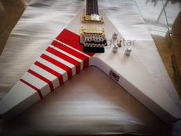 online shopping Rare Jack Son Kill Switch Buckethead Frets KFC Flying V Alpine White Solo Electric Guitar Red Neck Binding Floyd Rose Tremolo Tailpiece