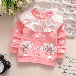 $enCountryForm.capitalKeyWord Canada - Spring Autumn Newborn Baby Girl Clothing Cute Dot Cotton Coat Lace O Neck Infant Outwear Clothes Long Sleeve Cardigan