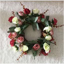 $enCountryForm.capitalKeyWord Australia - New Natural Looking Silk Rose Wedding Flower Wreath Garland W Twig Base Rattan Vine Ornaments Decoration Free Shipping