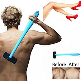 Back Hair Men Australia - Men Manual Back Shaver Hair Remover Plastic Long Handle Shaver Back Hair Shaver Razor Evantek Body Grooming Kit for Back Hair Removal