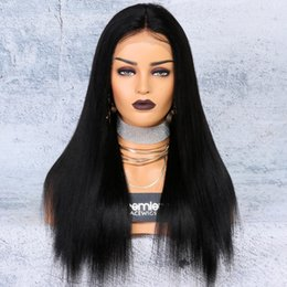 Lace wigs yaki naturaL online shopping - 8a Lace Front Wigs Brazilian Remy Human Hair Yaki Straight Density quot Deep Lace Part Inches Natural Hairline For American
