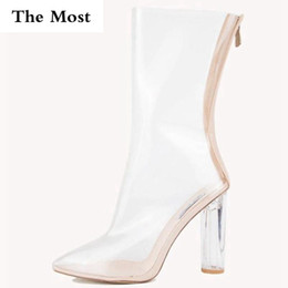 transparent pvc open toe heels 2019 - THEMOST 2017 Women Ankle Boots PVC Transparent Ankle Boots Clear Chunky Crystal High Heel Pointed-Toe Casual Shoes Woman