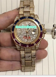 colorful diamonds watches Australia - Golden chilled diamond men's watches colorful diamond bezel fashion famous watch 2813 automatic mechanical sports watch