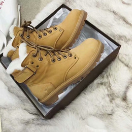 Belted Boots NZ - Winter Hot Sale Fashion Round Toe Ankle Boots Thick Wool Short Boots Short Tube Flat Bottom High Top Magic Belt Warm Martin Boot