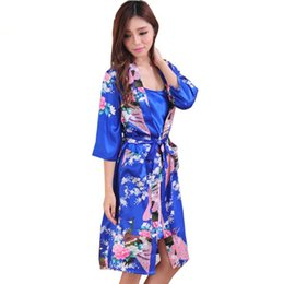 2 Piece Set Women Silk Peacock Kimono Robes Sexy Lingerie Lady Wedding  Party Bridesmaid Robe Satin Nightgown Bathrobe Pijama 43cfbf317