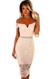 340e74a001e9 Women  S Elegant Slash Neck Knee -Length Summer Club Wear To Work Office  Fitted Stretch Slim Bodycon Lace Bardot Midi Dress 61975