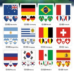 Russia 2018 World Cup Tattoo Stickers Football Wrist Body Stickers  Waterproof Flag Tattoo Stickers Heart-shaped Face Arm 32 Teams