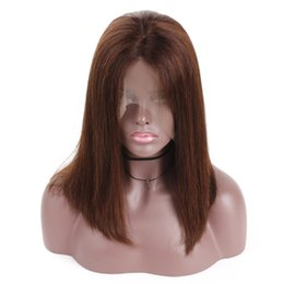 Straight Gluless Lace Front Human Hair UK - Bob Lace Front Wig Human Hair With Baby Hair Brazilian Remy Brown Bob Wig For Women Gluless Pluck Full End Lace Wig