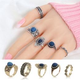 $enCountryForm.capitalKeyWord NZ - Knock Fashion New 5 pcs Set Multicolor Stone Midi Ring Sets for Women Boho Beach Vintage Punk Knuckle Ring Jewelry