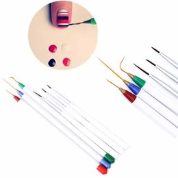 China Wholesale- TOMTOSH Set 6Pcs Pack Fine Drawing Striping Liner Design Tips Nail Art Pen Brushes Brush Salon DIY Gel UV Tool Manicure cheap fine art tools suppliers