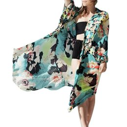 Discount beach shawl sleeves - Brand FEITONG Summer Women Loose Floral Chiffon Kimono Oversized Cardigan With Fringe Shawls Ladies' Clothes for Be