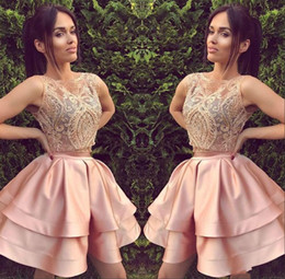 Junior models online shopping - Lovely Lace Homecoming Dresses for Juniors Tiers Satin Sheer Pink Sleeveless Short Prom Dress Party Ball Gowns Graduation Club Wear Cheap