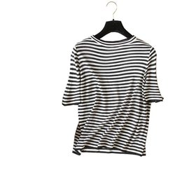 Korean Fashion classic black white striped shiny thread knit t shirt women  chic pullovers tencel knitted tee t-shirts tops 625e95a9ae41