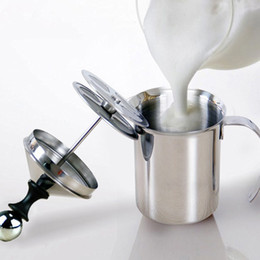 Egg bEatErs online shopping - 800 ml Stainless Steel Milk Frother Pump Coffee Mixer Milk Foamer Cappuccino Latte Double Mesh Delicate Foam For Coffee Tools