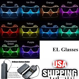 45c260786db8 Simple el glasses El Wire Fashion Neon LED Light Up Shutter Shaped Glow Sun Glasses  Rave Costume Party DJ Bright SunGlasses