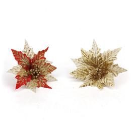 elegant christmas ornaments 2018 5pcs 20cm artificial flowers elegant powder sequins artificial simulation decoration flowers - Elegant Christmas Decorations For Sale