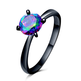 Chinese  Top quality Zircon ring Purple  green red color 7mm with 4 paw stud Black Gold Filled lover's ring for women Retail & Wholesale 021746 manufacturers