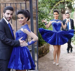 $enCountryForm.capitalKeyWord NZ - Royal Blue Velvet Short Cocktail Dresses 2019 Vintage High Neck Lace Appliques Short Prom Gowns Sheer Long Sleeves Arabic Formal Party