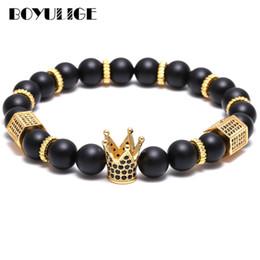 f9da22cd9f60 BOYULIGE alta calidad hombres joyas exfoliación granos de piedra natural oro  CZ imperial corona pulsera con cuentas para hombres y mujeres pulseras