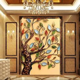 Fireproof Fabrics Wholesale Australia - 3D photo wallpaper gold rich cash cow walkway oil painting decorative backdrop 3D large wall mural wallpaper Modern painting