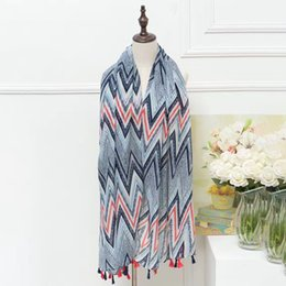 Cotton Scarves Chevron NZ - Guttavalli New Women Fashion Chevron Print Long Tassels Shawl Sunscreen Character Scarf Soft Retro Pastoral Style Stripe Scarves