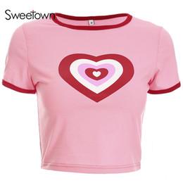 622a9734617 t shirts kawaii woman 2019 - Sweetown Pink Korean Style Heart Graphic Crop  Top T Shirt