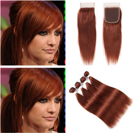 hair extensions 33 2019 - #33 Dark Auburn Virgin Peruvian Human Hair 4 Bundles with Closure Straight Copper Red 4x4 Lace Closure Piece with Weaves