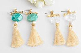 $enCountryForm.capitalKeyWord NZ - High-grade Creative Popularity Long Tassel Stud Earrings Natural Crystal Pearl Stud Earrings Jewelry Women Girls Gift Original Design