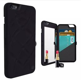 Iphone W NZ - Silicone Card Slots Stand Wallet W Lanyard Shockproof Anti-scratch Protective Cover Case with mirror For iPhone 6 6S 7 8 Plus X Samsung