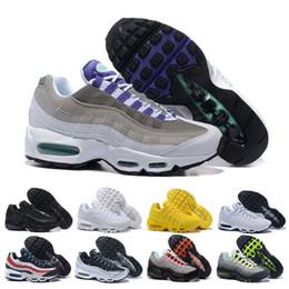 brand new d1536 f3aa3 air max 95 airmax 95 uomini scarpe da corsa triple bianco nero uva solare  rosso neon trainer uomini scarpe sportive all aperto da jogging casuale  sneaker ...