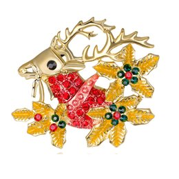 Fashion Jewelry Aggressive Multicolor New Crystal Double Bells Fashion Christmas Bows Sleigh Bells Brooches Christmas Gifts Christmas Brooches For Women