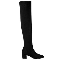leather toys UK - E TOY WORD Slim Sexy Long Women Boots Fashion Winter flock Leather Female Elegant Knee High Boots Round Toe Autumn Women's Shoes
