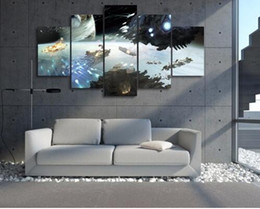 game television Canada - Free shipping Hot Sale Home Decor Life Oil Living Room Canvas Painting 5 Panel Strategy Game Dreadnought Modern Spray Painting