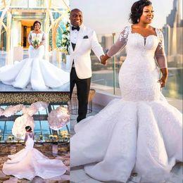 Discount transparent wedding dresses sequin - Mermaid Plus Size Wedding Dress Transparent Long Sleeve See Through Back Sparkly Appliques Long Train Bridal Gowns Vesti