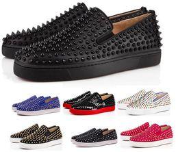 bb9687ce66 Comprar um sapatilhas de fundo vermelho calçados casuais mens mulheres  baixo preto Designer completo Spikes Roller Boat apartamentos skate loafers  homem de ...