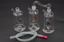 Multicolor Bong NZ - Colorful Mini Glass Dab Rig Water Bongs Pipes Multicolor Recycler Oil Rig with Hose Banger Pot Bowl