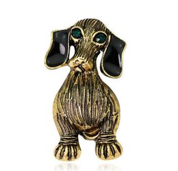 wholesale african clothing women Canada - Vintage Crystal Enamel Animal Brooches Lapel Pins Lovely Dogs Corsage For Women Men Clothing Accessories Brooch Pins Free Shipping